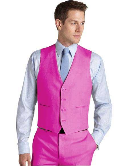 Matching Waistcoat Wedding ~ Prom Dress Fuschia Tuxedo Wedding Mens Vest ~ Waistcoat ~ Waist coat & Flat Front Pants Set