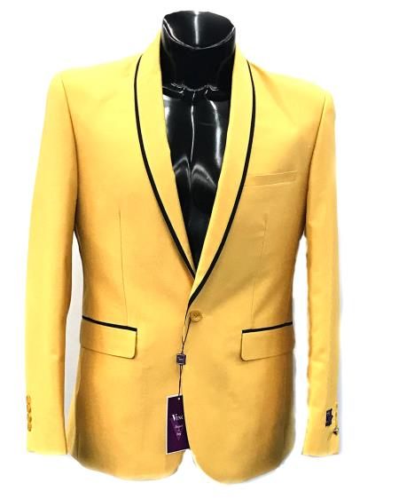Men's Vinci 2 Button Blazer In Black And Gold