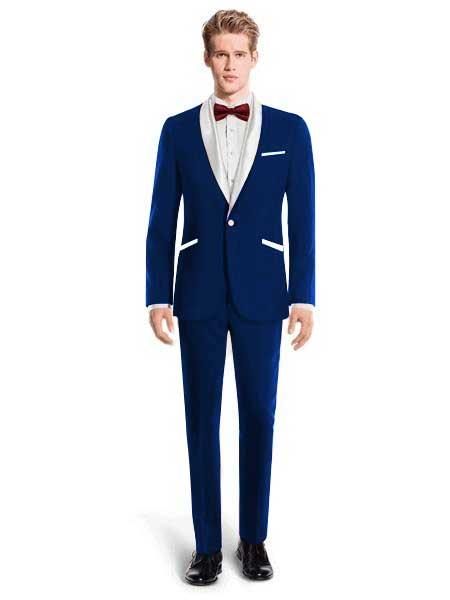 White Lapel Tuxedo Suit Shawl Collar With Vest Wedding / Prom / Stage Dark Navy Blue