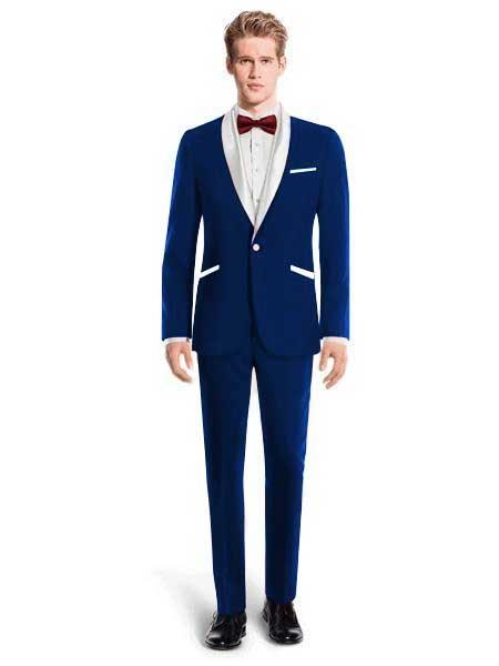 Navy Blue One Button Shawl Lapel Tuxedo Suit