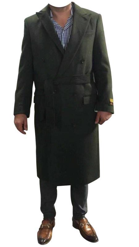 DBCoat Alberto Nardoni Olive Green Belted Wool Coat Overcoats ~ Long Men's Dress Topcoat -  Winter coat Double Breasted Suit Full Length