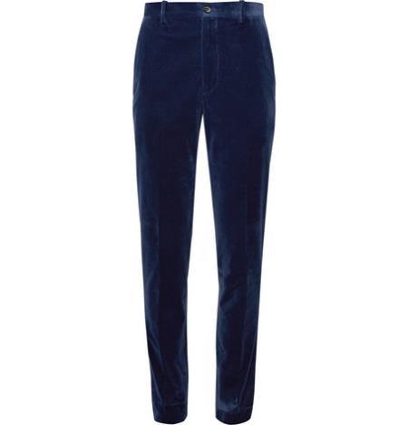 Men's Navy Blue Velvet Pants Slacks Trousers