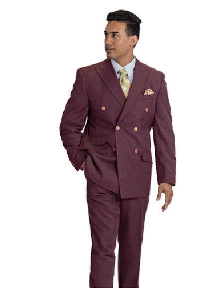 Mens Wool Feel Double Breasted Burgundy Pinstripe Suit