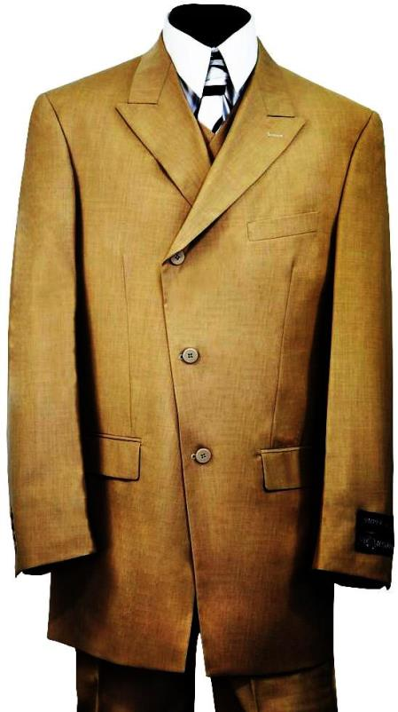 Victorian Side Buttoned 3pc Zoot Suit Set - Taupe