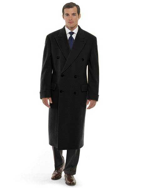 DBCoat Men's 44 Inch Long Length Black Double Breasted Wool Blend Overcoat