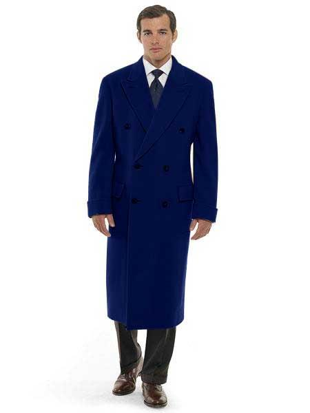 DBCoat Men's 44 Inch Long Length Navy Blue Double Breasted Wool Blend Overcoat