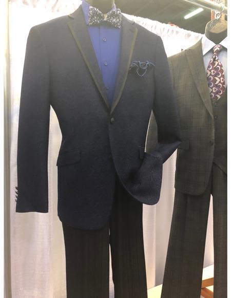 Mens Dark Blue Single Breasted Suit