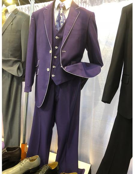 Purple and White Tuxedo Vested Suit 3 Pieces