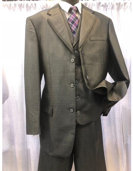 Mens Three Button  Grey Single Breasted Suit