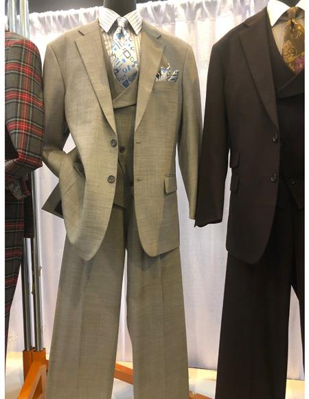 Mens Gray Two Button Single Breasted Suit