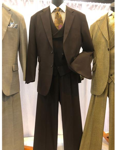 Mens Brown Single Breasted Two Button Suit
