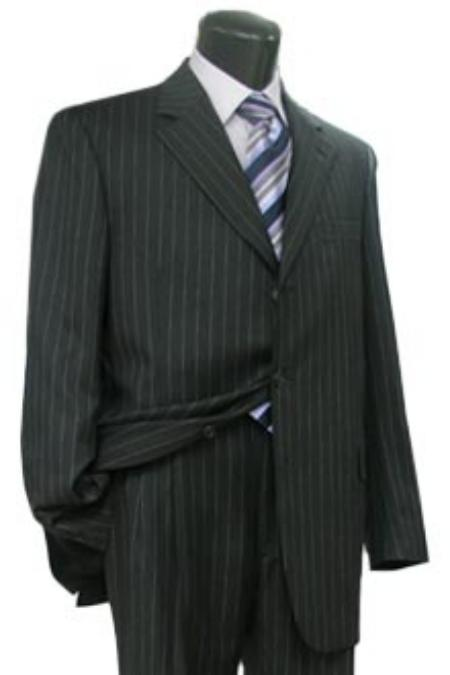 SKU# 3B PIN W199 Simple Black & White Pinstripe Business Real premier quality italian fabric Soft $225
