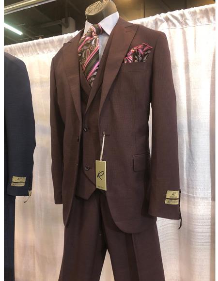 Men's Brown One Button Peak Lapel Suit