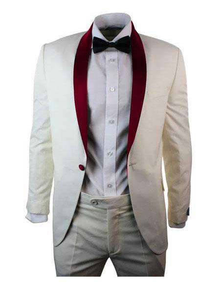 Mens Cream  Ivory One Button Cheap Priced Designer Fashion Dress Casual Blazer On Sale Burgundy Shawl Lapel Blazer