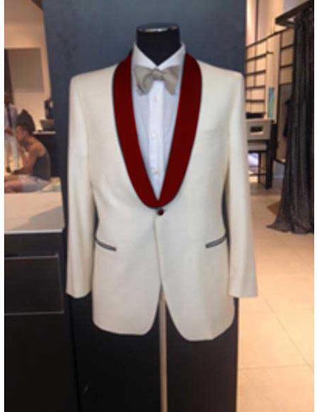 Mens Ivory Maroon Shawl Lapel One Button Cheap Priced Designer Fashion Dress Casual Blazer On Sale Blazer