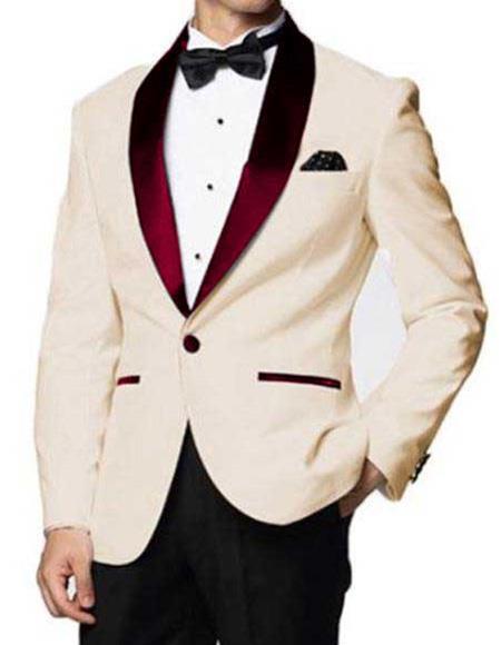 Men's Ivory Cheap Priced Designer Fashion Dress Casual Blazer On Sale One Button Burgundy Shawl Lapel Blazer