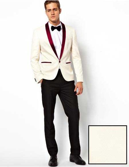 Men's White Cheap Priced Designer Fashion Dress Casual Blazer On Sale One Button Burgundy Shawl Lapel Blazer