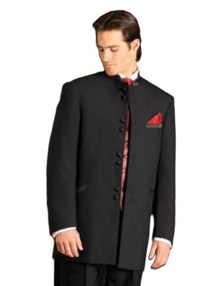 Men's Black Mandarin Collar Nehru Jacket