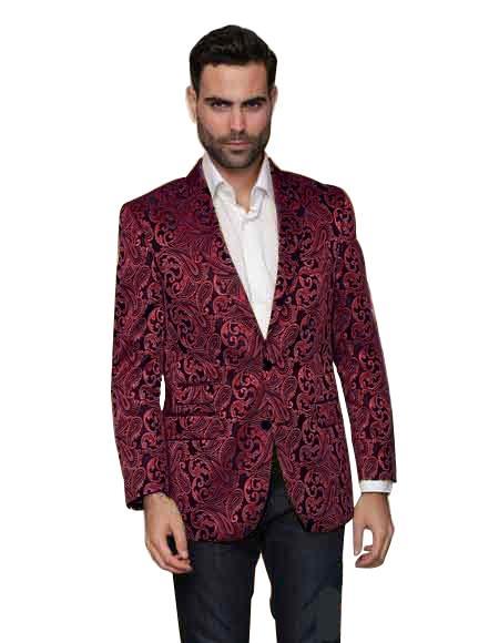 Alberto Nardoni Paisley Floral Tuxedo Matching Fashion Bow Tie Sport Coat Burgundy ~ Maroon