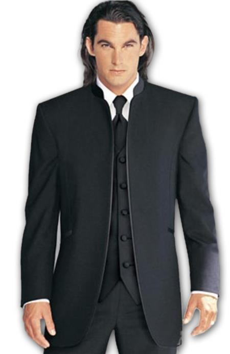 Mens Collarless Blazer Nehru Jacket Marriage Groom Wedding Black