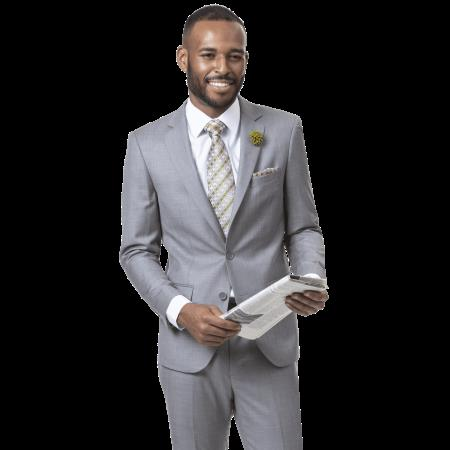 Mens Gray Two Button  One Chest Pocket Suit