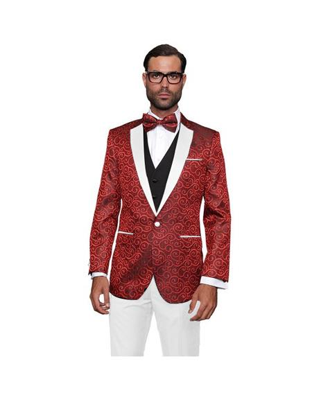 Red and White Lapel Tuxedo Dinner Jacket Paisley Floral + White vest & Pants Vested 3 Pieces Suit + Free Bow Tie
