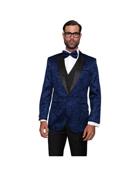 Single Breasted Wool One Button  Dark Navy Suit