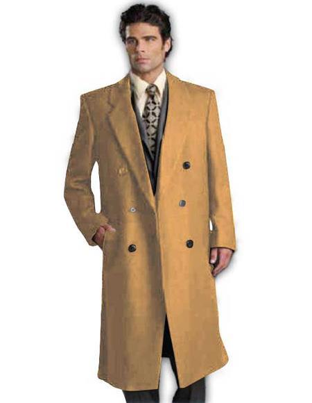DBCoat Alberto Nardoni Men's Wool Long Designer Men's Wool Men's Peacoat Sale Double Breasted Suits Style Full Length Camel