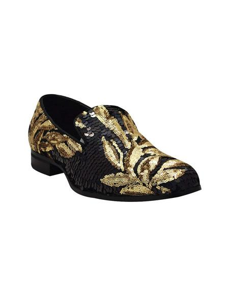 Men's Slip On Black ~ Gold Shoe