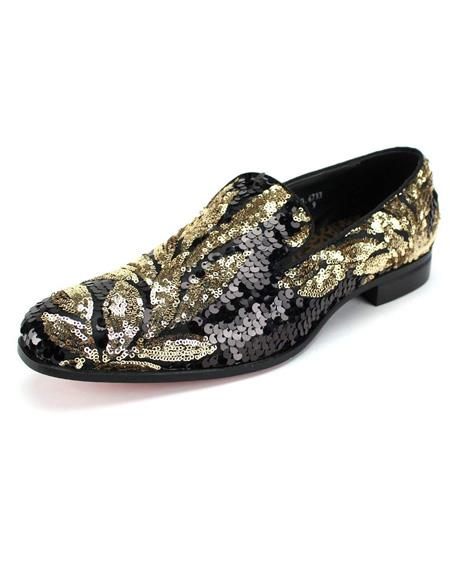Mens Black ~ Gold Slip On Shoe
