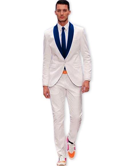 Men's White One Button Suit Dark Navy Blue Shawl Lapel