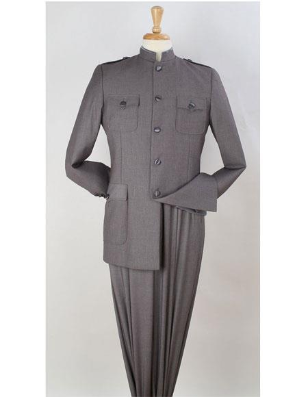 Mens Safari Suit Mandarin Collar less Style Fashion Suit