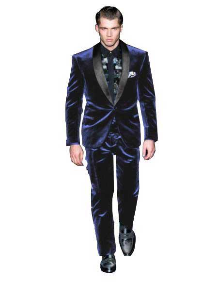 Mens One Button Navy Blue  Velvet Tuxedo Suit