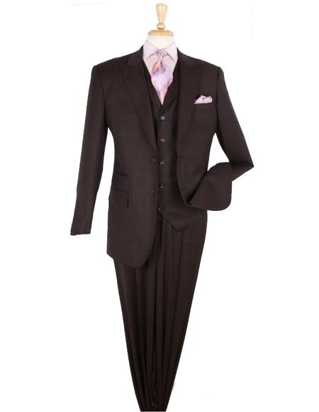 2 Button Peak Lapel 3 Piece 100% Wool Fashion Suit Pleated Pants Plaid ~ Windowpane Hounds