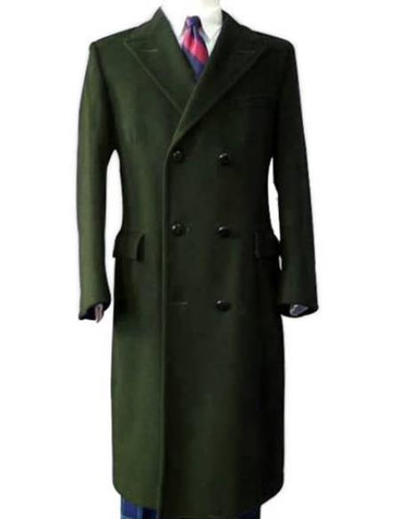 Men's Vintage Jackets & Coats Alberto Nardoni Long Olive Green Overcoat Wool  Topcoat $199.00 AT vintagedancer.com