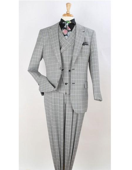 Men's Vintage Style Suits, Classic Suits Leg pleated pants  Plaid  Window Pane Suit Gray $160.00 AT vintagedancer.com