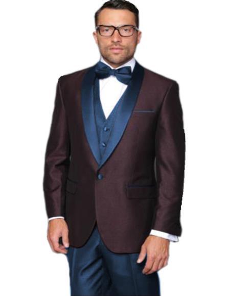Alberto Nardoni Burgundy ~ Plum And Dark Navy Blue Lapel Burgundy  Suit  Tuxedo Vested 3 Piece Suit Wedding / Prom / Party Suit