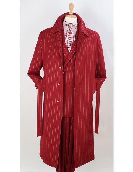 Mens Dress Coat Full Length Pinstripe Stripe Topcoat Overcoat ~ Trench Coat Wool Fabric Burgundy ~ Red