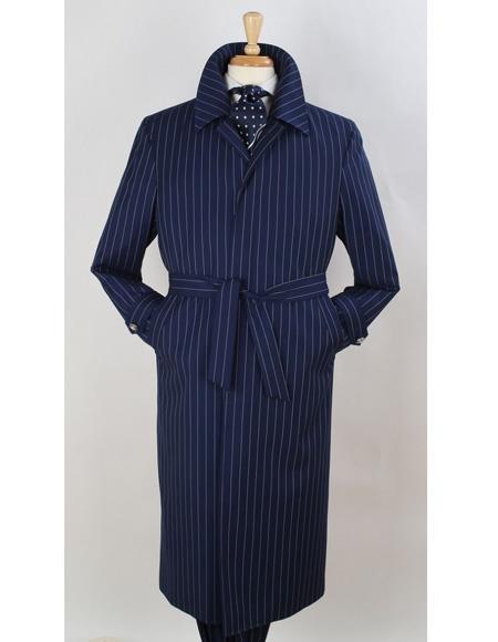 Mens Dress Coat Full Length Pinstripe Stripe Topcoat Overcoat ~ Trench Coat Wool Fabric Navy Blue