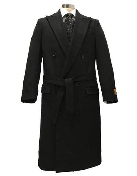 Mens Dress Coat DBCoat Alberto Nardoni Double Breasted Full Length Belted Wool Fabric Overcoat ~ Topcoat