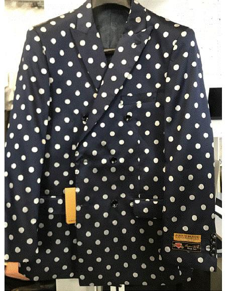 Navy Blue or Black & White Polk Dot Mens Double Breasted Suits Jacket Blazer Sport Jacket Coat