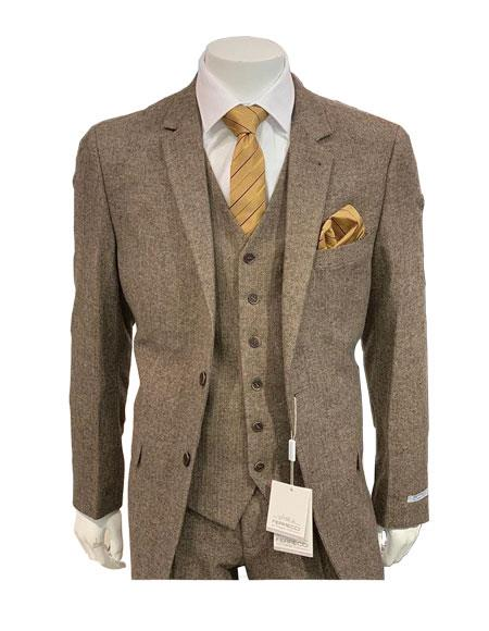 1900s Edwardian Men's Suits and Coats Tweed Herringbone Brown  Coffee Herringbone 2 Button Slim Fitted Tapered  Suit Ves $149.00 AT vintagedancer.com