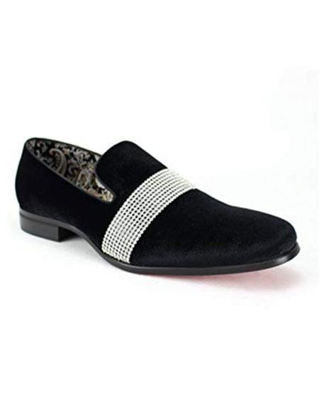 SKU#VT30 Mens Black Velvet ~ Velour Dress Slip on Loafer ~ Shoe