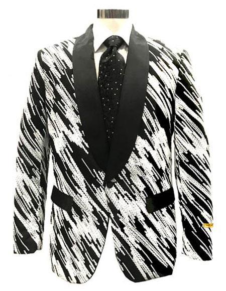 Men's Black ~ White Cheap Priced Designer Fashion Dress Casual Blazer On Sale Blazer