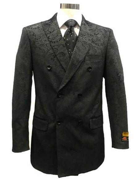 Men's Black Peak Lapel utton Closure Suit