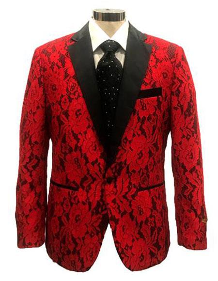 Mens Red ~ Black  Cheap Priced Designer Fashion Dress Casual Blazer On Sale Cheap Priced Blazer Jacket For Men