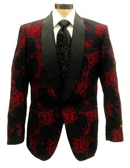 Mens Cheap Priced Designer Fashion Dress Casual Blazer On Sale Red ~ Black One Button Cheap Priced Blazer Jacket For Men
