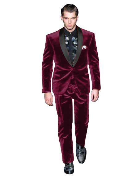 Velvet Suit Mens Dark Burgundy Suit One Button Velvet Fabric Shawl Collar Tuxedo