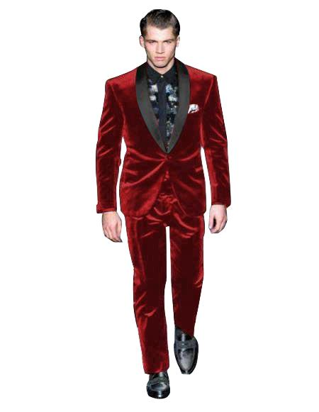 Mens Single Breasted Maroon Suit Shawl Lapel Velvet Fabric Shawl Collar Tuxedo