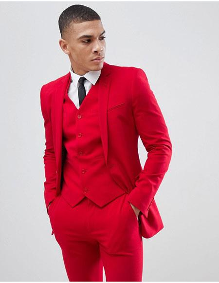Mens Red 3 Pieces Suit Vested Suit Slim Fitted Flat Front Pants Side Vents $125